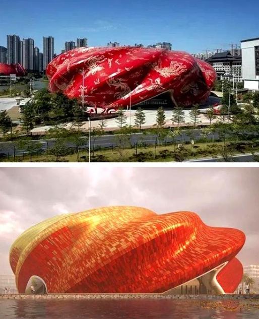 广州融创大剧院建设完工图(上),效果图(下)。