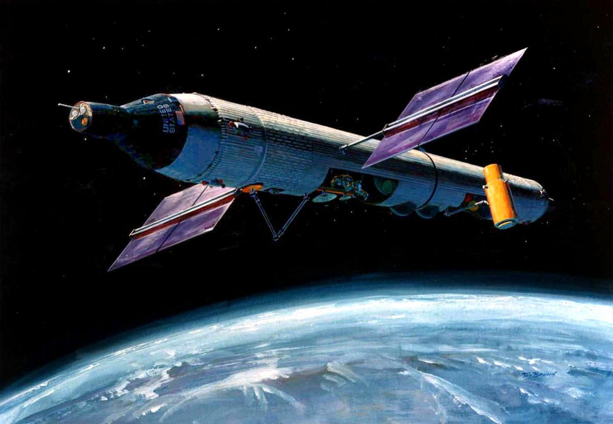"""""""载人轨道实验室""""在轨运行设想图。"""