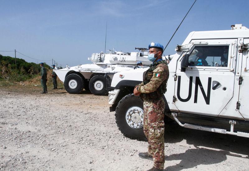 当地时间2021年5月4日,黎巴嫩Naqura,黎巴嫩以色列海上划界谈判重启。图为在黎巴嫩南部小镇驻守的军队。