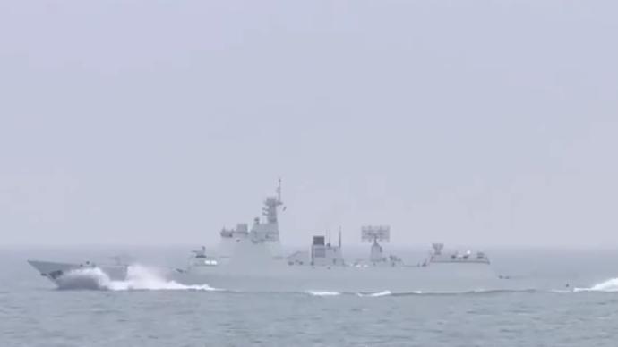 视频|连训9昼夜,导弹驱逐舰编队黄海实训大场面