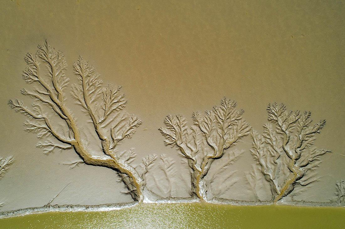 2021年5月5日,江苏盐城,东台条子泥景区因潮汐形成的海滩纹理图案。因条子泥景区海滩泥质地貌的特殊性和潮汐作用,退潮时海滩会形成各式自然图案,从空中俯瞰有的像祥龙,有的像森林,有的像枯树,有的像河流,有的像羽毛……栩栩如生。贺敬华/视觉中国 图