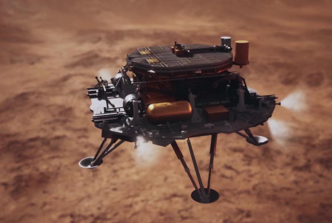 着陆巡视器下降接近火星表面