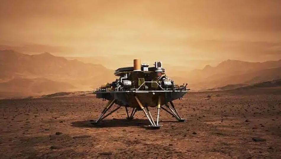 """在最后的落""""火""""瞬间,利用四条着陆腿里的缓冲吸能材料,把着陆时的冲击力缓冲掉,确保着陆巡视器平稳着陆在火星表面。"""