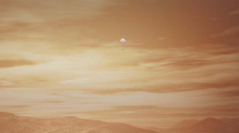 在着陆巡视器距离火星10公里左右时,打开携带的超音速降落伞