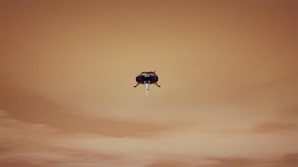 在距离火星高度100米的时候,借助降落发动机进行悬停