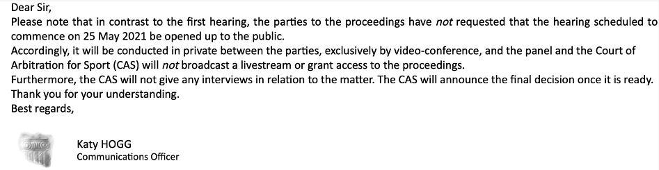 国际体育仲裁法庭的回复邮件。