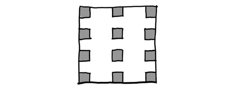 常规的平面布置图,灰色矩形为柱子。