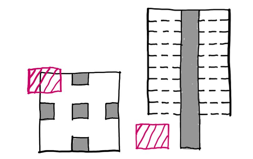 调整后的大楼平面(左)及立面(右)