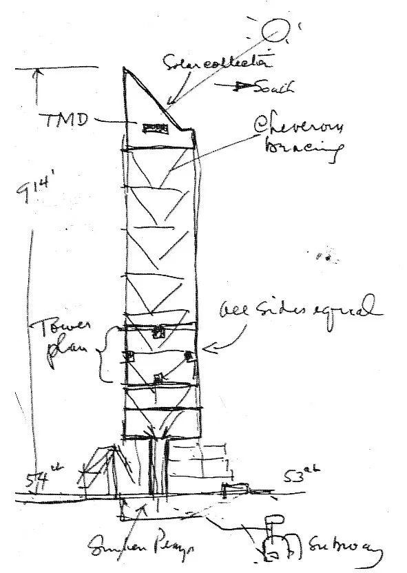 LeMessurier草稿中的大厦雏形