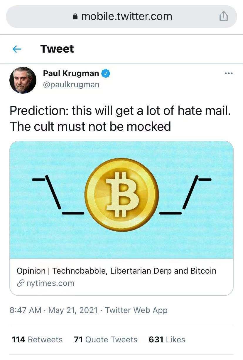 诺贝尔奖获得者、经济学家保罗·克鲁格曼(Paul Krugman)的推文