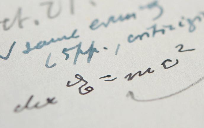 爱因斯坦手写的、带有著名质能方程的信