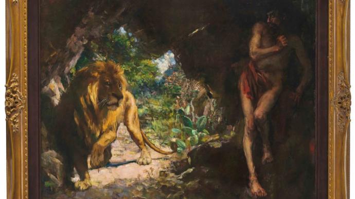 徐悲鸿《奴隶与狮》香港流拍,张大千泼彩画作2亿多港元成交