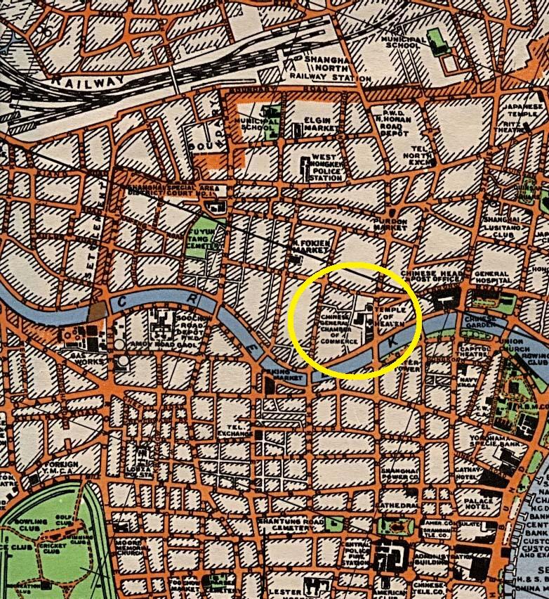 从20世纪30年代的上海旧地图上,可以看到上海总商会(Chinese General Chamber of Commerce)和一旁的天后宫(Temple of Heaven)。图片来源:美国国会图书馆数据库