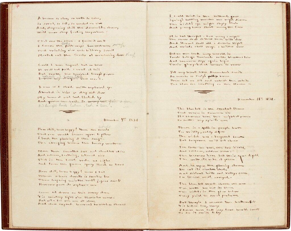 艾米莉·勃朗特的诗歌手稿,夏洛蒂曾用铅笔修改过 图源:苏富比拍卖行