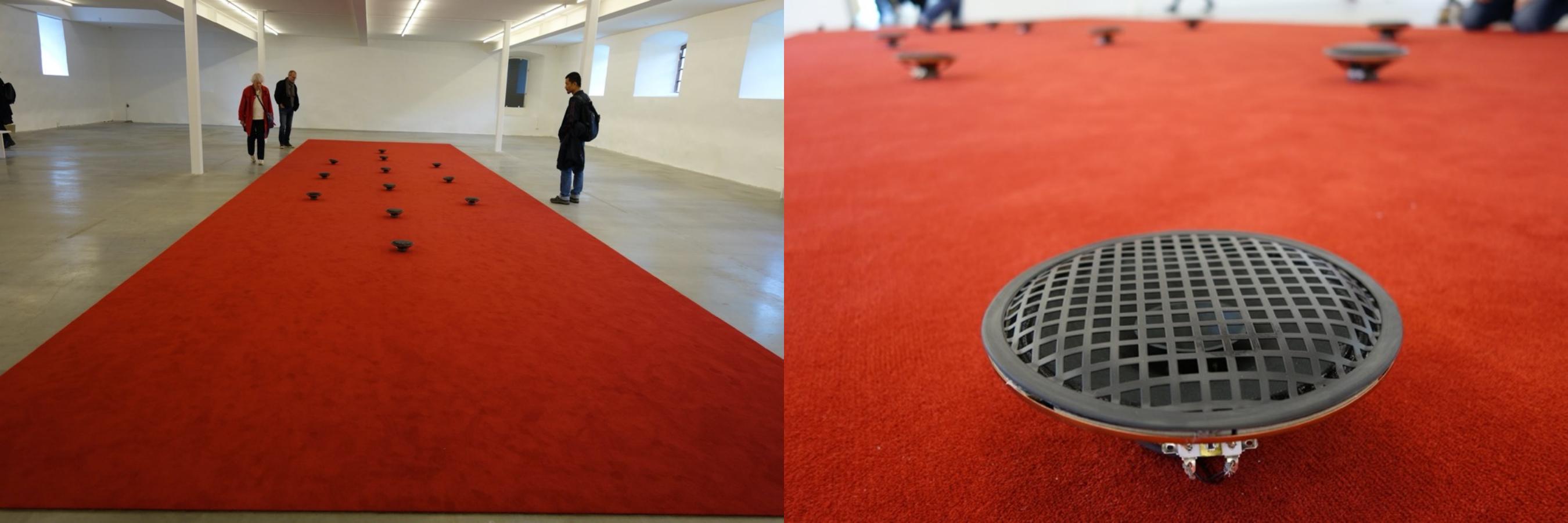 来自移民城市马尔默约四五十家不同宗教人士/组织的祈祷声,观众需脱鞋进入地毯。James Webb,Prayer(Malmo),瑞典南部Wanas艺术公园,2015。