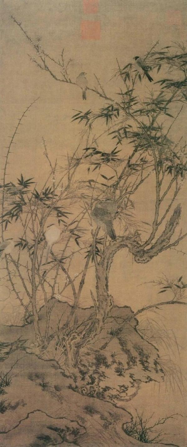 《梅竹聚禽图》。 图片来源:台北故宫博物院