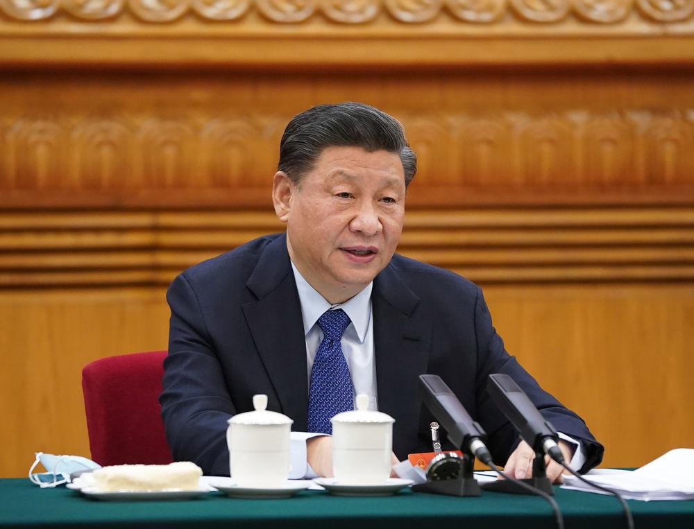 2021年3月7日,习近平参加十三届全国人大四次会议青海代表团审议。