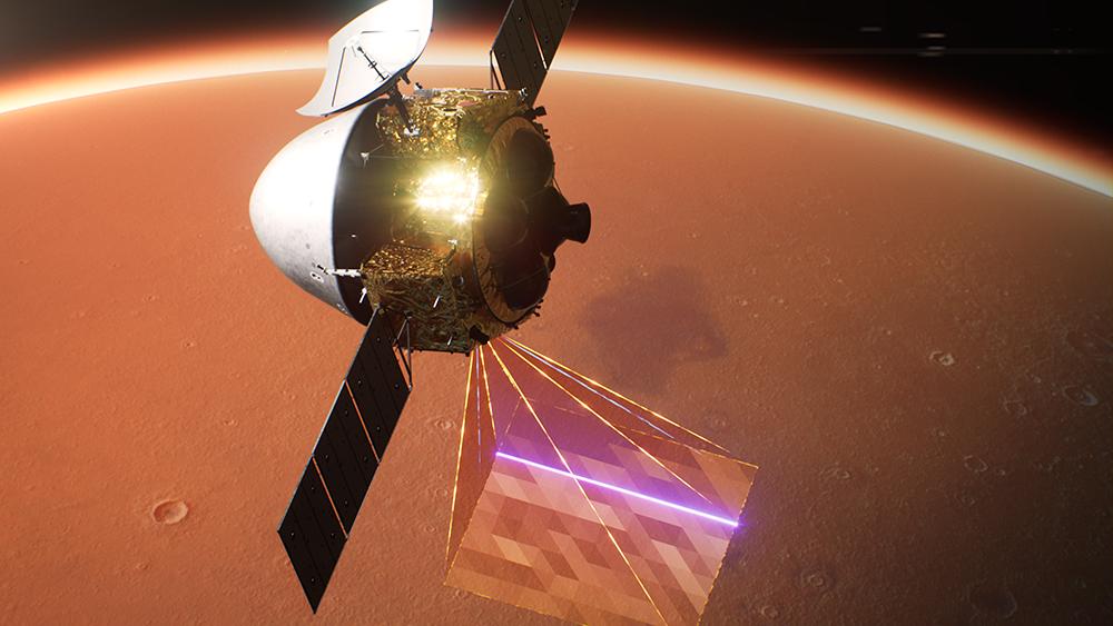 天问一号进入环火轨道效果图。图片来源:航天科技集团八院
