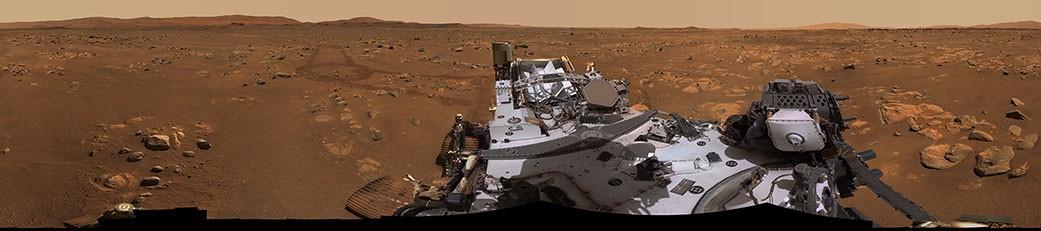 """""""毅力""""号的Mastcam-Z系统拍摄的360度全景图"""