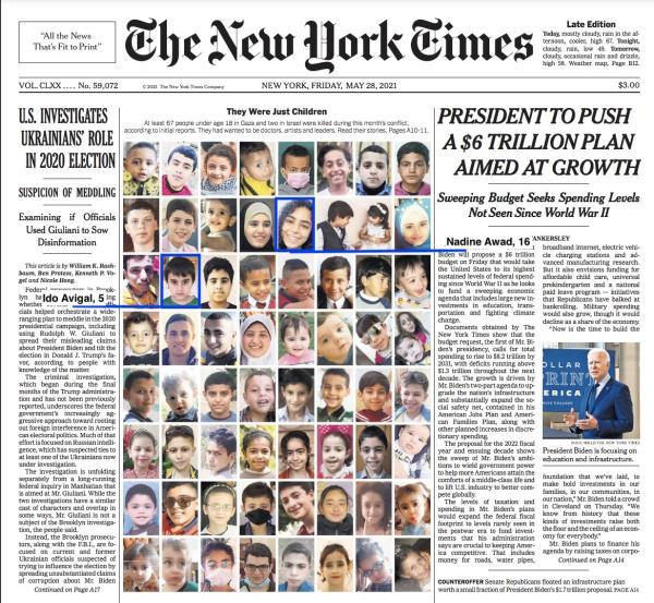 """《纽约时报》2021年5月26日头版刊登的巴勒斯坦遇难儿童照片,并配标题:""""他们只是孩子。"""""""