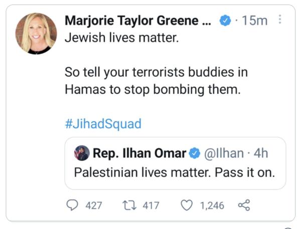 """共和党代表马乔丽·泰勒·格林的推特:""""犹太人的命也是命。"""""""