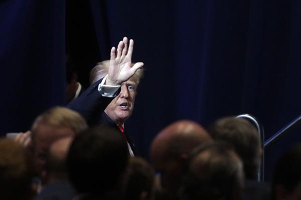 当地时间2021年6月5日,美国北卡罗莱纳州格林维尔,美国前总统特朗普以演讲嘉宾的身份参加当地共和党代表大会。人民视觉 图