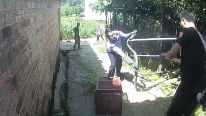 """2.5米长眼镜王蛇溜进村民家,民警捕捉时遭激烈""""反抗"""""""