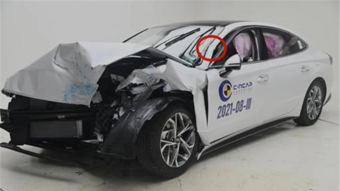 国产索纳塔被曝碰撞试验A柱弯折,中汽研C-NCAP完整成绩尚未公布