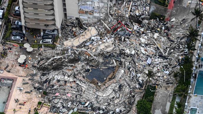 美媒:美国迈阿密公寓倒塌事故已致3人死亡,近百人失踪