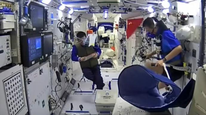 视频丨中国空间站版燃烧我的卡路里:航天员运动克服失重影响