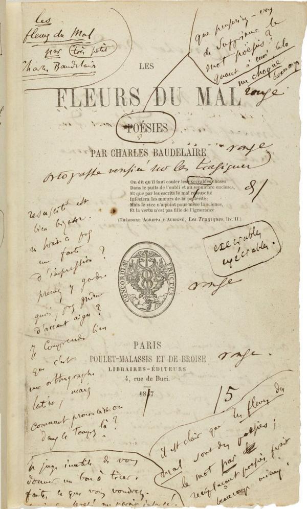 《恶之花》的初版本,上有作者笔记。