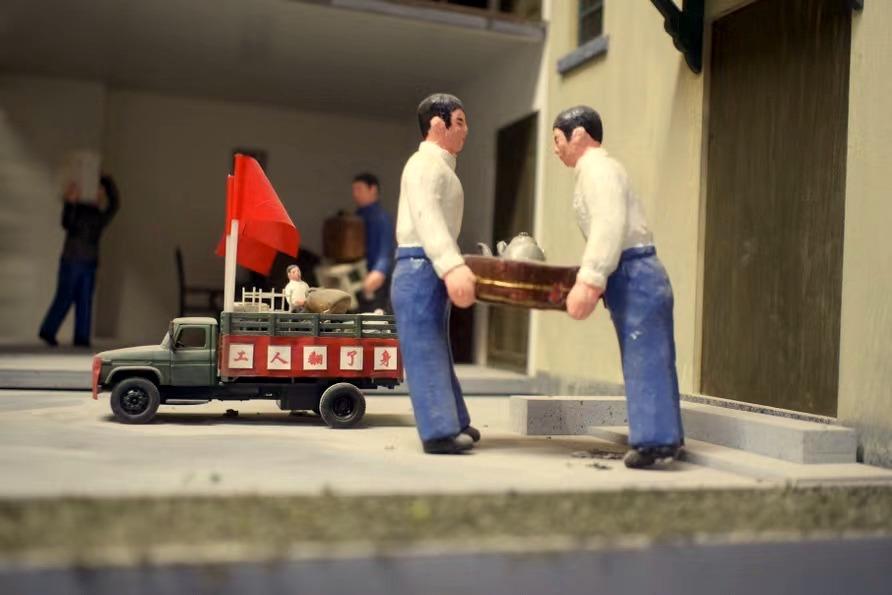 曹杨新村村史馆展示的新村模型。澎湃新闻记者 许海峰 图