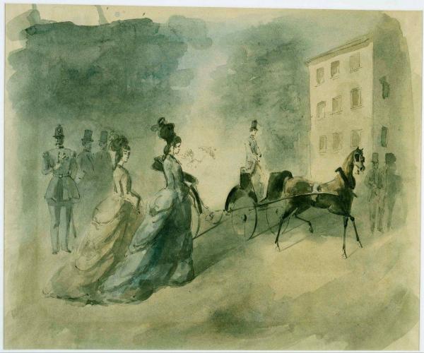 """盖斯(Constantin Guys):《名利场》(约1875-1885)。盖斯被波德莱尔称为""""现代生活的画家""""。"""