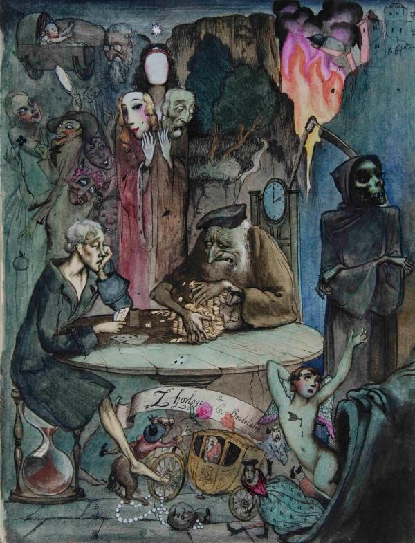 雷克斯·惠斯勒(Rex Whistler)为波德莱尔的《时钟》一诗所作的插画(1924)