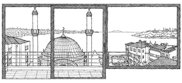 奥尔罕·帕慕克位于伊斯坦布尔贝伊奥卢区Cihangir的工作室窗外景色
