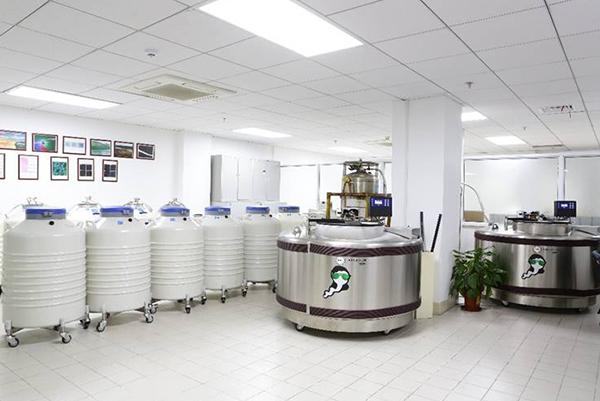 上海市人类精子库的冷冻精子储存库。