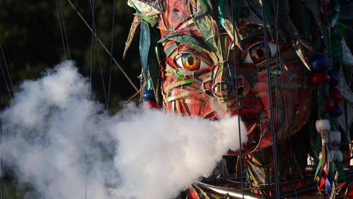 早安·奥运|助力东奥会的日本巨型木偶艺术,网友:能把人带走