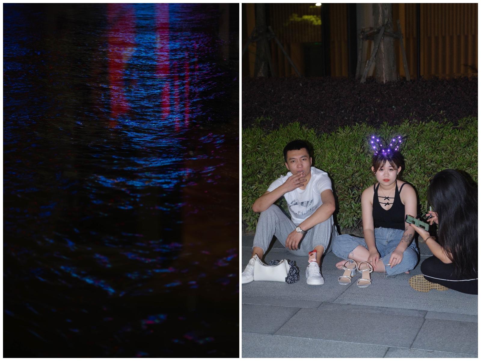 左:外滩江水;右:外滩soho楼下的年轻人。