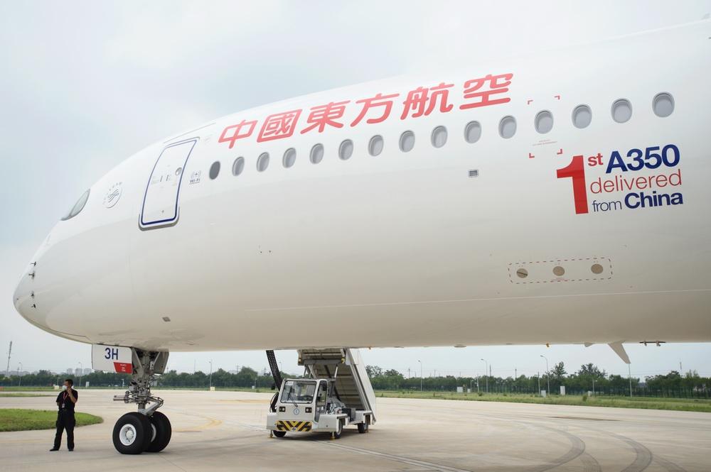 这是空客天津宽体飞机完成和交付中心向用户交付的第一架A350飞机。