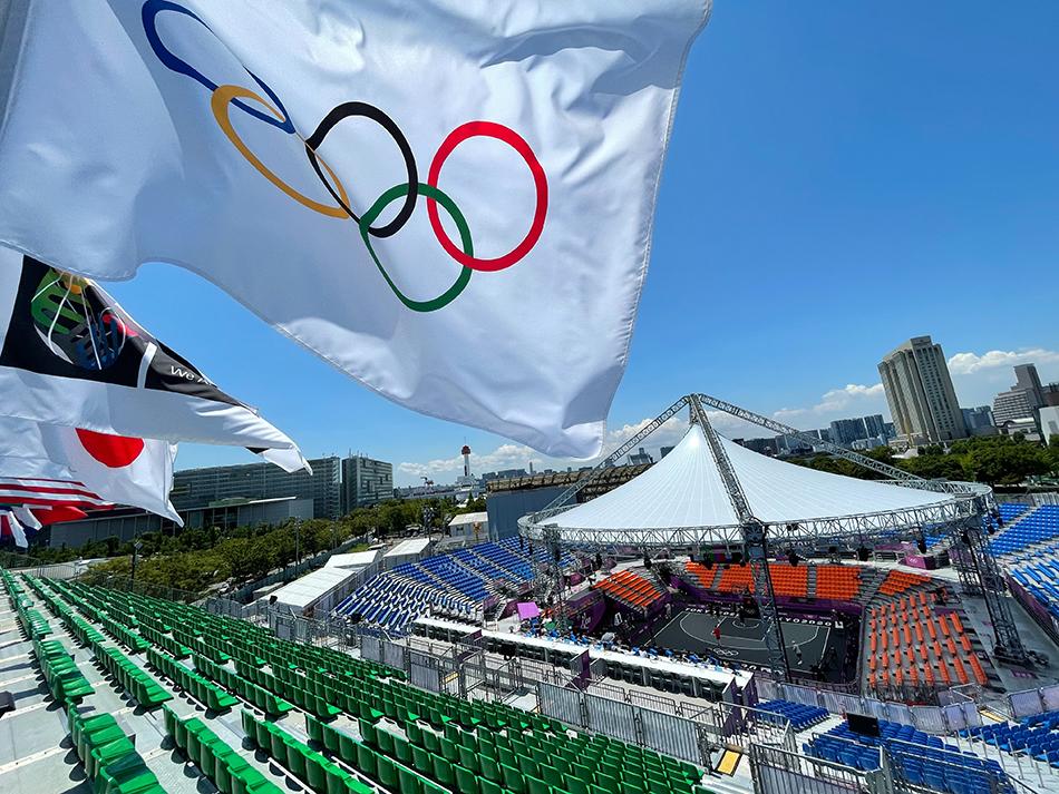 2021年7月22日,日本,2020东京奥运前瞻,三人篮球比赛场地奥米城市体育公园一览。 视觉中国 图