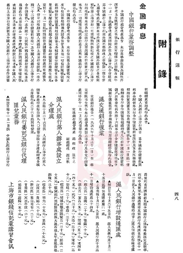 《沪人民银行委托五银行代理汇兑业务》