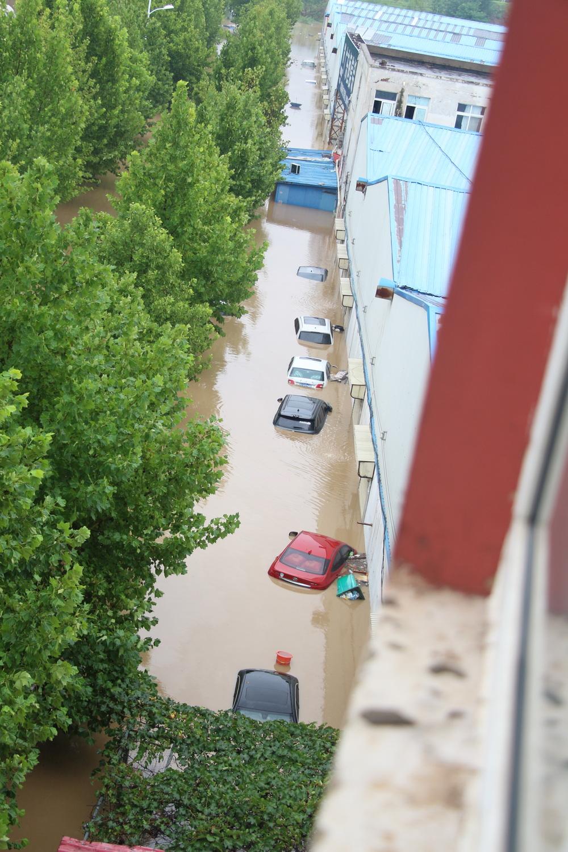 不少小区内停放的车辆都被淹没。