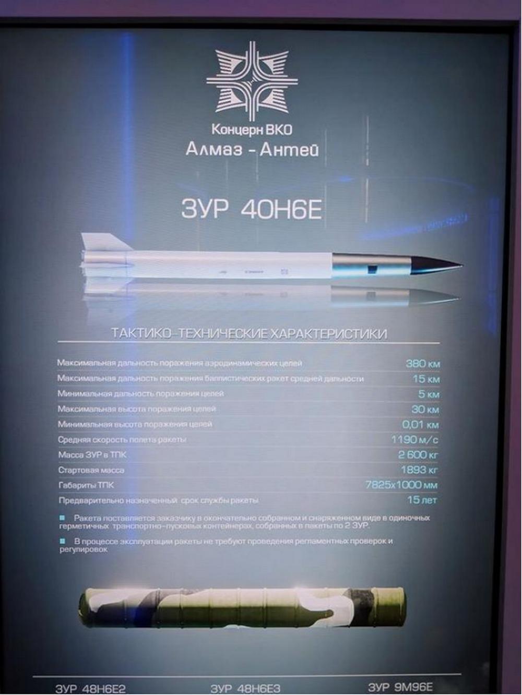 40N6导弹射程超过380千米,可用于打击对方预警机、加油机等目标。