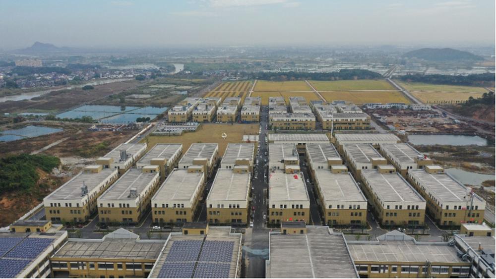 东衡村平整废弃矿坑兴建的众创产业园。