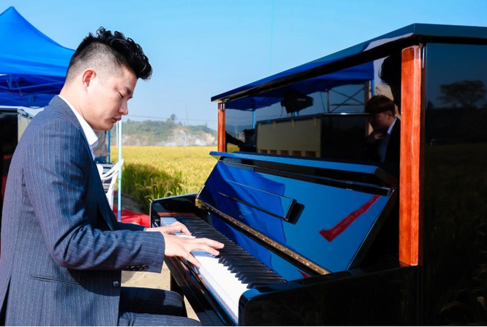 """2019年秋天,洛舍镇""""钢琴文化节""""在由矿坑回填复垦的稻田里揭幕。"""