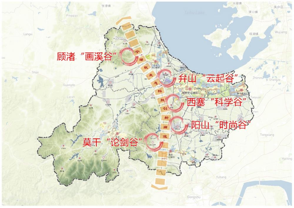 五座创新谷分布在杭宁高铁周边。
