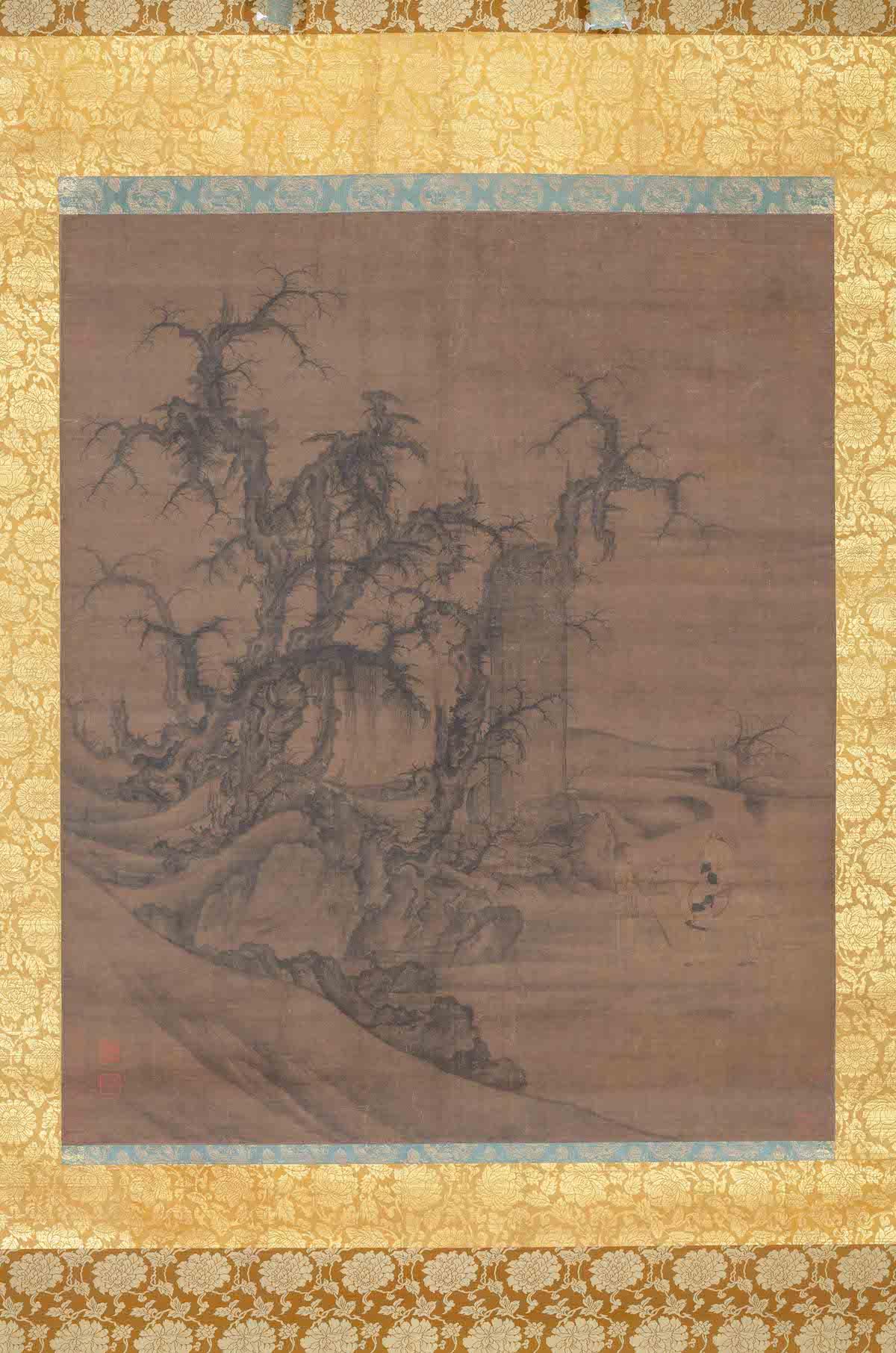 宋 李成 王晓 《读碑窠石图》轴 大阪市立美术馆藏
