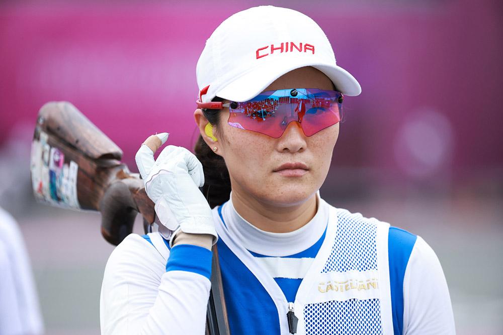 北京时间2021年7月26日,日本,2020东京奥运会射击女子双向飞碟决赛,魏萌摘铜。人民视觉 图