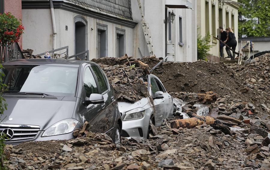 2021年7月15日,德国北莱茵-威斯特法伦州,当地遭遇暴雨洪水。