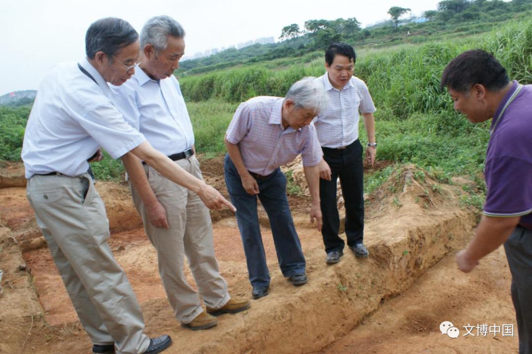 李伯谦、刘绪、胡美洲、方勤、魏航空等专家学者在盘龙城考古工地
